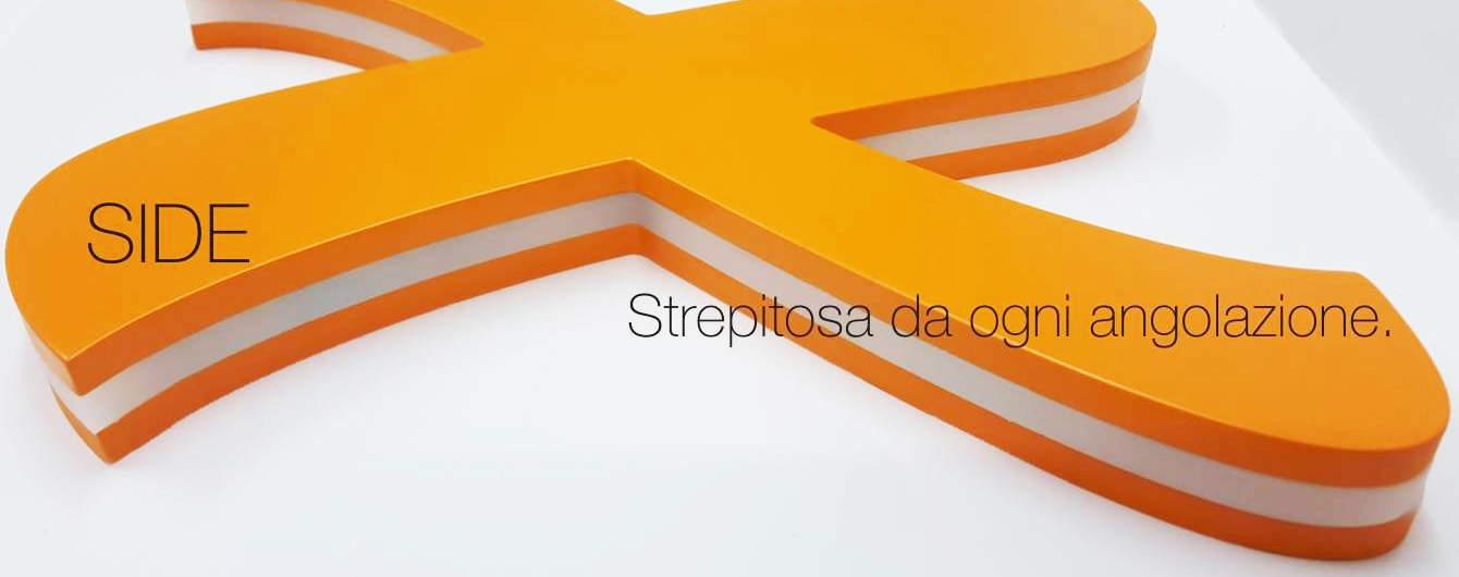 Con il loro effetto alone attorno alla lettera, le lettere luminose Side sono le più richieste di tutto il catalogo di insegne luminose di Sign Italia