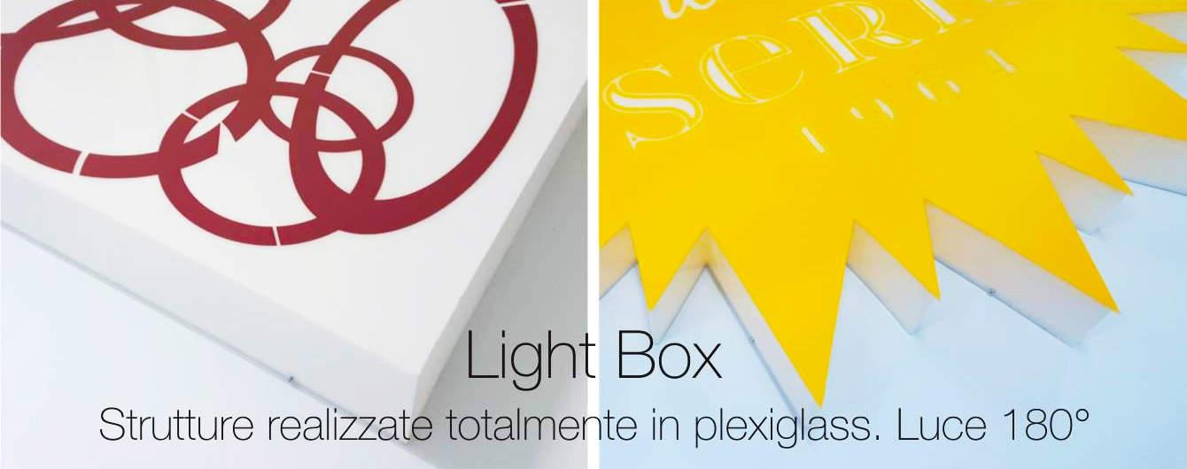 La produzione di insegne luminose Light Box valorizza la luce con il Plexiglass